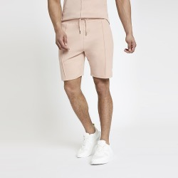 River Island Mens Pink slim fit jersey shorts