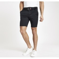 River Island Mens Navy belted slim fit chino shorts