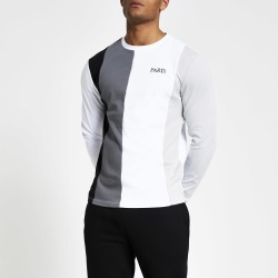 Mens River Island White colour blocked long sleeve T-shirt