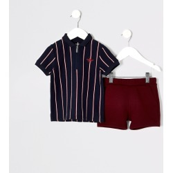 River Island Mini boys Navy stripe polo shirt outfit found on Bargain Bro UK from River Island - UK