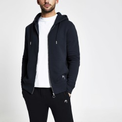 Mens River Island Maison Riviera Navy slim fit zip hoodie found on MODAPINS from River Island - UK for USD $37.57