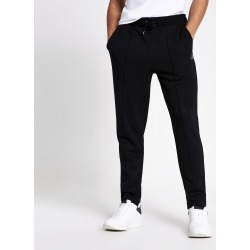 Mens River Island MCMLX Black slim fit pique joggers