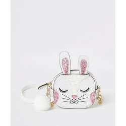 River Island Girls White bunny embellished cross body bag