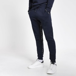 Mens River Island Maison Riviera Navy taped joggers