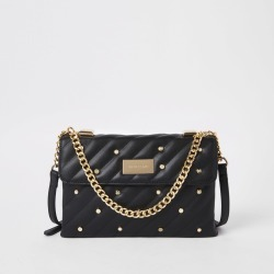 Womens Black quilted embellished cross body bag found on MODAPINS from River Island - UK for USD $38.71