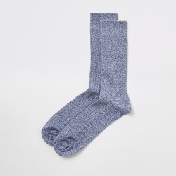 River Island Mens Blue twisted knit ribbed socks
