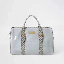 River Island Womens Grey RI Embossed barrel bag found on Bargain Bro Philippines from RIver Island US for $84.00