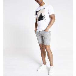River Island Mens Grey slim fit denim shorts