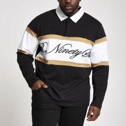 Mens River Island Big and Tall R96 Black rugby shirt found on Bargain Bro UK from River Island - UK
