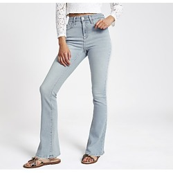 River Island Womens Light blue high rise bootcut flared jeans found on MODAPINS from RIver Island US for USD $80.00
