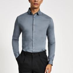 Mens River Island Light Blue long sleeve muscle fit shirt