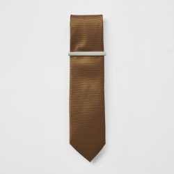 Mens Brown textured tie and tie clip found on MODAPINS from River Island - UK for USD $15.48