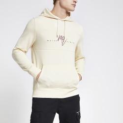 River Island Mens Maison Riviera ecru slim fit hoodie