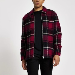River Island Mens Red check long sleeve overshirt
