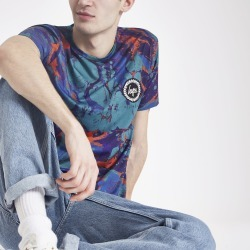 Mens River Island Hype Blue marble print T-shirt found on Bargain Bro UK from River Island - UK