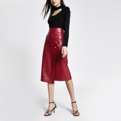 River Island Womens Red faux leather wrap midi skirt found on Bargain Bro UK from River Island - UK