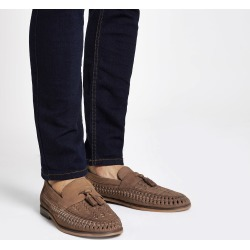 Mens River Island Brown leather woven tassel front loafers