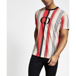 Mens River Island Criminal Damage Red chest logo T-shirt