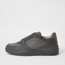 Mens River Island Grey lace-up chunky trainers
