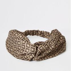 Womens Brown RI monogram print twist headband found on MODAPINS from River Island - UK for USD $12.71