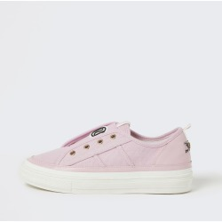 River Island Womens Pink RI eyelet pull on trainers found on Bargain Bro UK from River Island - UK