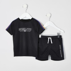 River Island Mini boys Black taped T-shirt outfit found on Bargain Bro UK from River Island - UK