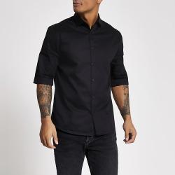 River Island Mens Black half sleeve regular fit satin shirt