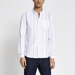 Mens River Island Ecru stripe short sleeve regular fit shirt found on MODAPINS from River Island - UK for USD $35.07