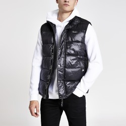 River Island Mens Prolific black high shine padded gilet