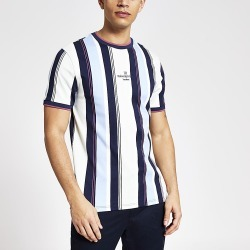 River Island Mens Maison Riviera blue stripe slim fit T-shirt