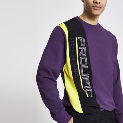 Mens River Island Prolific Purple nylon blocked sweatshirt
