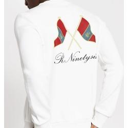 Mens River Island White R96 flag printed slim fit sweatshirt