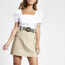 River Island Womens Petite Beige belted mini utility skirt found on Bargain Bro UK from River Island - UK