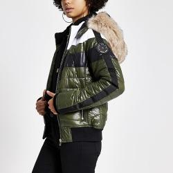 River Island Womens Khaki faux fur hood high shine padded jacket