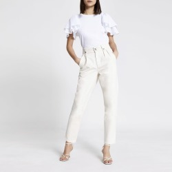 River Island Womens Ecru high rise tapered jeans found on MODAPINS from River Island - UK for USD $52.94