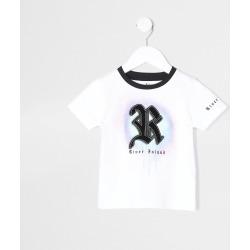 River Island Mini boys White R drip spray print t-shirt found on Bargain Bro UK from River Island - UK