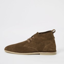 Mens River Island Brown suede lace-up desert boots