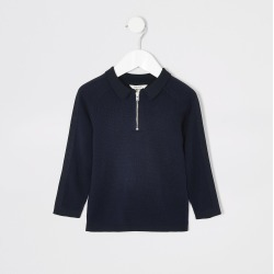 River Island Mini boys Navy pique long sleeve polo shirt found on Bargain Bro UK from River Island - UK