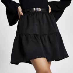 River Island Womens Black belted tiered mini skirt found on Bargain Bro UK from River Island - UK