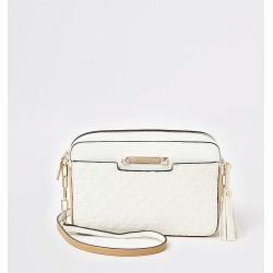 River Island Womens White RI embossed boxy crossbody bag found on Bargain Bro Philippines from RIver Island US for $49.00