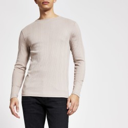 Mens River Island Beige long sleeve muscle fit ribbed T-shirt