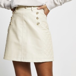 River Island Womens Beige PU quilted mini skirt found on Bargain Bro UK from River Island - UK