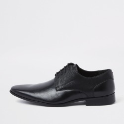 Mens River Island Black line embossed lace-up derby shoes