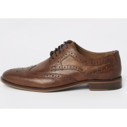 Mens River Island Brown leather lace-up brogues