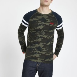 Mens Superdry Khaki camo long sleeve T-shirt found on MODAPINS from River Island - UK for USD $31.76