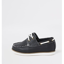 River Island Mini boys navy textured lace-up boat shoes found on Bargain Bro India from RIver Island US for $36.00