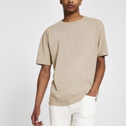 Mens Beige oversized short sleeve T-shirt found on MODAPINS from River Island - UK for USD $10.17