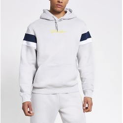 River Island Mens Prolific grey colour blocked hoodie