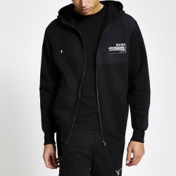 Mens River Island DVSN Black colour blocked zip front hoodie
