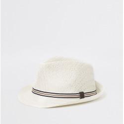 Mens River Island Ecru straw trilby hat